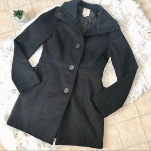 Tulle Black Pea Coat